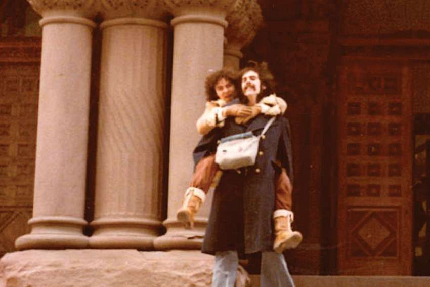 Herman Goodden and his wife, Kirtley Jarvis, on the steps of Toronto's Old City Hall after being married in 1977.