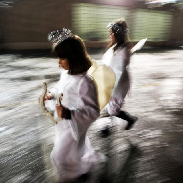 Children dressed as angels arrive to re-enact a Nativity scene during Christmas celebrations in 2011 in Sarajevo, Bosnia-Herzegovina. Bosnian Catholic leaders said ethnic and religious dialogue is not occurring and not all religions have equal rights.