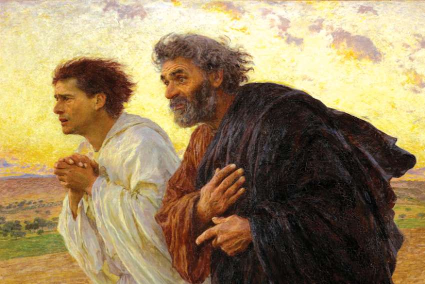 Eugène Burnand's 1898 painting of Peter and John running to the tomb on the morning of the Resurrection.