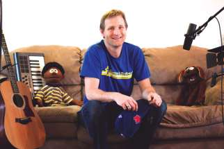 Jason Taylor, with his puppet characters Opus, left, and Joyous, are out to fill the void in Catholic children video series.