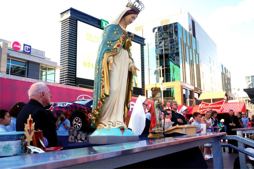 Our Lady of the Cape presides over the Rosary Bowl held at Lansdowne Park in Ottawa.