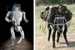 "Atlas (left) is a humanoid robot developed for ""search and rescue"" missions. BigDog was a 2005 quadrupedal robot created to serve as a pack mule to accompany soldiers on rough terrains."