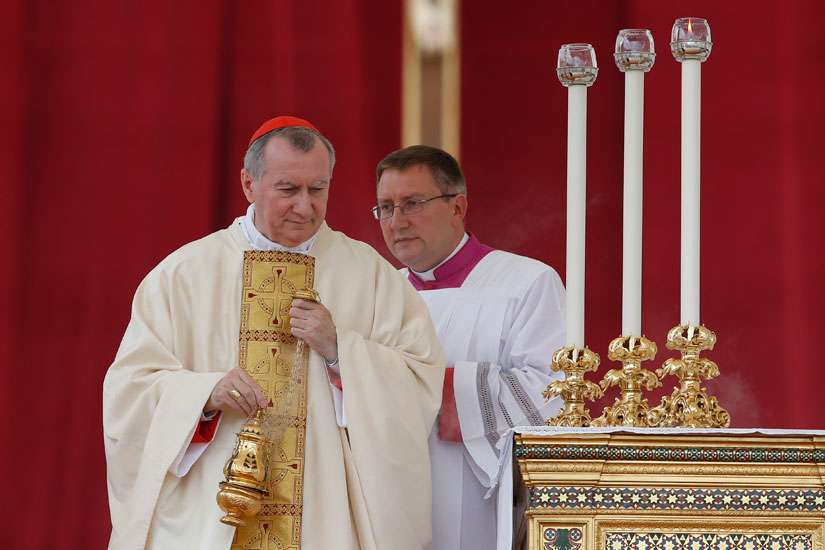 Cardinal Pietro Parolin, Vatican secretary of state, uses incense as he celebrates a Mass of thanksgiving for the canonization of St. Teresa of Kolkata in St. Peter's Square at the Vatican Sept. 5.