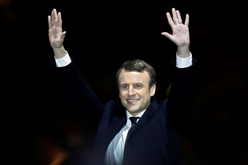 French President-elect Emmanuel Macron celebrates at his victory rally near the Louvre in Paris May 7.