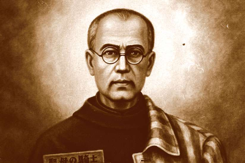 St. Maximilian Kolbe, seen in a portrait at left, sacrificed his life for another at Auschwitz in 1941.