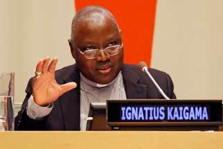 Archbishop Ignatius Kaigama of Jos, Nigeria, speaks during a forum addressing international religious freedom issues at the United Nations March 1, 2019. The event was co-sponsored by the Vatican's Permanent Observer Mission to the U.N. and the NGO Committee on Freedom of Religion or Belief.