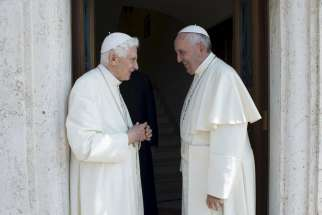 Retired Pope Benedict XVI talks with Pope Francis during a meeting at the Vatican in this June 30, 2015, file photo. Benedict said in a recent interview that, unlike his successor, governance wasn't his gift.