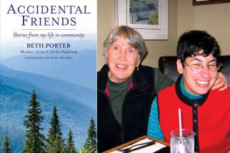 "Beth Porter, left, offers a look inside L'Arche and the many friends she has made there in her new book, ""Accidental Friends: Stories From My Life in Community"", left. including Beth, in left photo, and Michael and Francis."