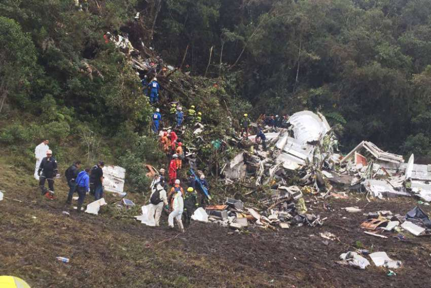 A plane carrying 77 people, including Brazil's Chapecoense soccer team crashed en route to Medellin for a match against Atlético Nacional