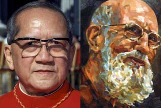 Pope Francis advanced the sainthood causes of a number of cardinals, religious and laypeople May 4, including U.S. Capuchin Father Solanus Casey, right, and Vietnamese Cardinal Francois Nguyen Van Thuan.