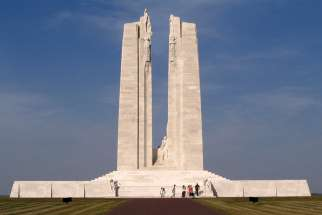 The Canadian National Vimy Ridge Memorial is seen in northern France. The names of more than 11,000 who fought during World War I are commemorated on this memorial. On Nov. 11, many Canadian churches will ring their bells 100 times to mark the 100th anniversary of the end of the war.
