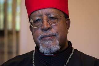 Ethiopian Cardinal Berhaneyesus Souraphiel is seen at the headquarters of the U.S. Conference of Catholic Bishops in Washington Oct. 24, 2019.