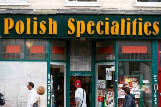 A Polish delicatessen is seen in the Hammersmith section of London June 27. Xenophobic incidents included the vandalism of the buildings of a Polish social and cultural association in London and the verbal abuse of foreigners on a tram in Manchester.