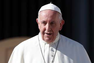 Pope Francis is pictured during his general audience in St. Peter's Square at the Vatican Oct. 24.