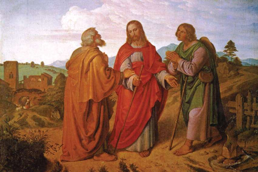 Joseph von Führich's 1837 painting of the disciples meeting Jesus on the road  to Emmaus.