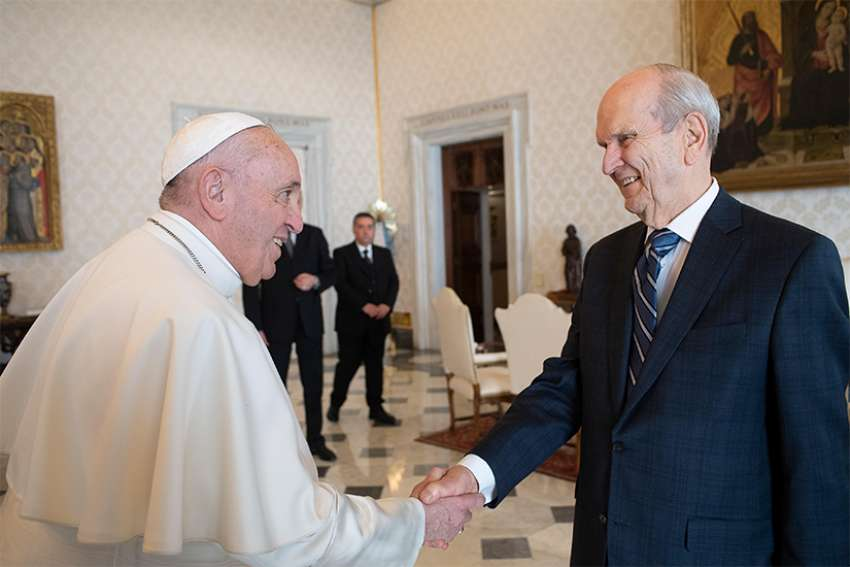 Pope Francis meets March 9, 2019, at the Vatican with Russell M. Nelson, president of the Church of Jesus Christ of Latter-day Saints.