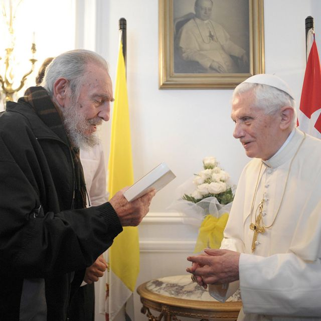 Pope Benedict XVI meets with Cuba's former President Fidel Castro at the apostolic nunciature in Havana March 28.