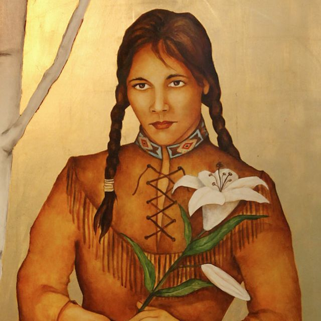 A painting of Blessed Kateri Tekakwitha by Meltem Aktas hangs in the chapel at Loyola Academy in Wilmette, Ill. Devotion to the Catholic Mohawk-Algonquin young woman has spread in North America beyond the American Indian community. She is to be canonized by Pope Benedict XVI Oct. 21.