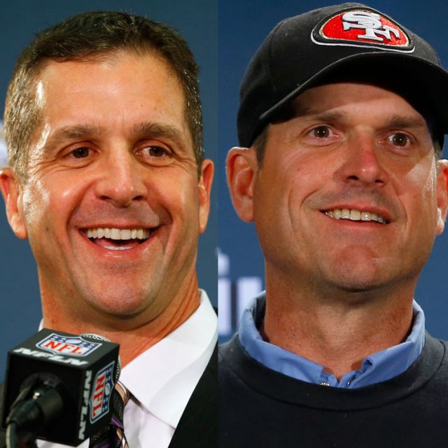Baltimore Ravens head coach John Harbaugh and his brother, San Francisco 49ers head coach Jim Harbaugh, are pictured in a combination photo in late January. Jack Harbaugh and his wife, Jackie, are bracing for the the battle between the siblings in the Feb. 3 Super Bowl