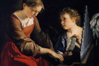 Saint Cecilia with an Angel, by Orazio Gentileschi (1618-1620).