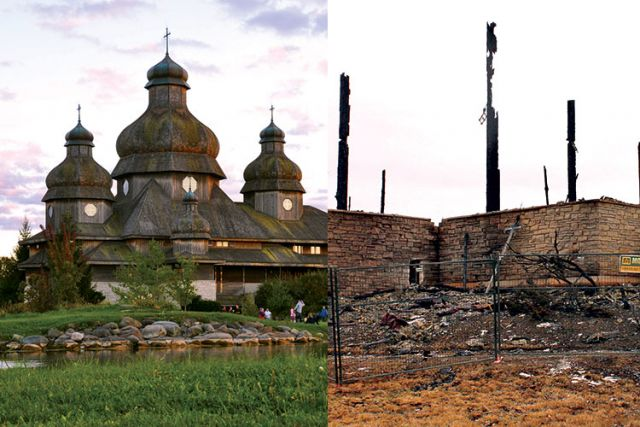 St. Elias the Prophet Ukrainian Catholic Church before (left) and after it was destroyed by fire. The church will still host Easter services under a tent on parish grounds.