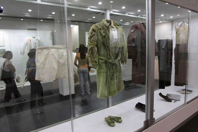 The clothing of the six Jesuit priests killed in El Salvador during the country's civil war are exhibited at the museum of the Central American University in San Salvador. The priests, their housekeeper and her daughter were killed at the univers ity Nov. 16, 1989, by members of an army unit during a military offensive.