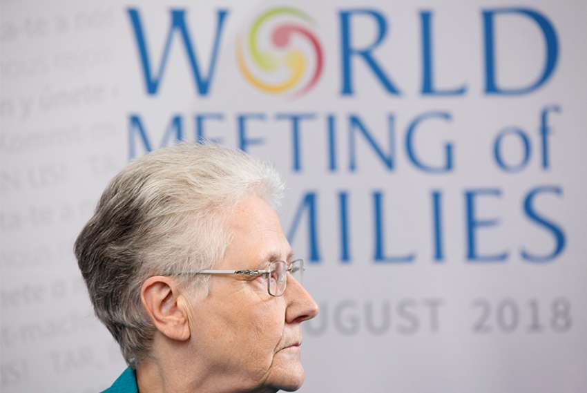 Marie Collins is seen at the World Meeting of Families in Dublin Aug. 24. She is a survivor of clerical sex abuse and a former member of the Pontifical Commission for Protection of Minors.