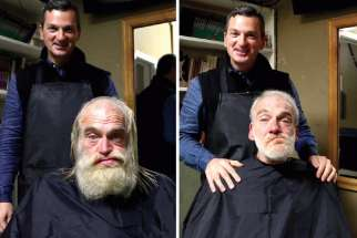 Hairdresser Alexandre Legere shows off the before and after for Glenn, a homeless man who was gettting his first haircut in more than a year.
