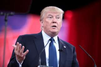 Donald Trump speaking at the 2015 Conservative Political Action Conference (CPAC) in National Harbor, Maryland. Boston Boston Cardinal Sean O'Malley publicly voiced his concern about Trump's campaign rhetoric.