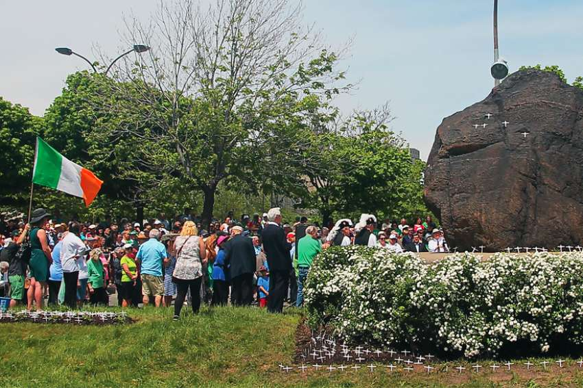 Every year, there is a procession to an Irish monument in Montreal, a large black stone that commemorates the many who died making the journey to Canada in 1847.