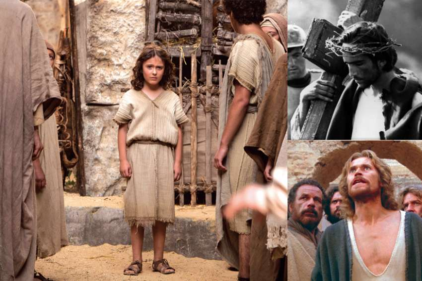 Left, Adam Greaves-Neal is a seven-year-old Jesus in The Young Messiah. Right, Enrique Irazoqui, top, is Jesus in The Gospel of Matthew; below, Willem Dafoe stars in The Last Temptation of Christ.