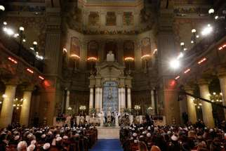 Pope Francis visits the main synagogue in Rome Jan. 17.