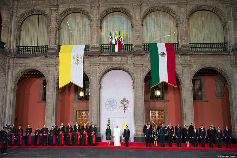 Pope Francis, Mexico's first lady Angelica Rivera and Mexico's President Enrique Pena Nieto participate in a ceremony at the National Palace in Mexico City, Mexico Feb. 13