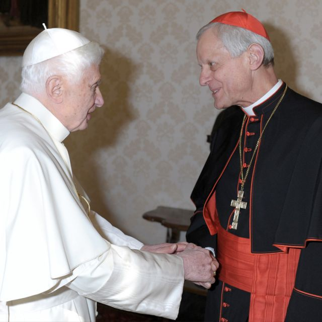 "Pope Benedict XVI greets Cardinal Donald W. Wuerl of Washington Jan. 16 at the Vatican. Cardinal Wuerl and his auxiliary bishops are making their ""ad limina"" visits to the Vatican to report on the status of the archdiocese."