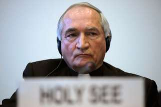 Despite sophisticated programming, automated drones or other machinery would never comply with international human rights law, Archbishop Silvano Tomasi, the Vatican observer to U.N. agencies in Geneva, Switzerland, told experts meeting May 13-16 to disc uss lethal autonomous weapons systems. Archbishop Tomasi is pictured in a late January photo in Geneva.