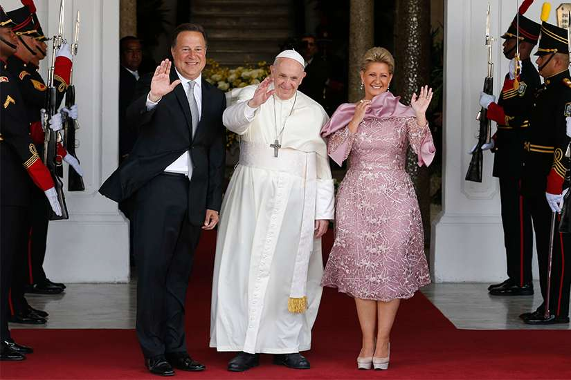 Pope Francis is pictured with Panamanian President Juan Carlos Varela and first lady Lorena Castillo during a welcoming ceremony at Palacio de las Garzas in Panama City Jan. 24, 2019.