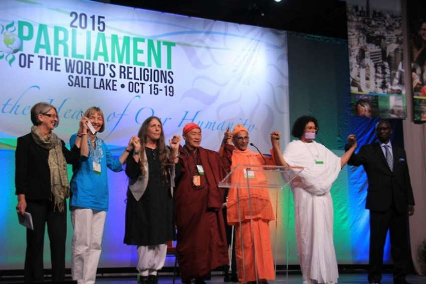 Delegates on the stage at the 2015 Parliament of the World's Religions in Salt Lake City, Utah. Toronto will be hosting the next gathering between Oct. 31-Nov. 7, 2018.