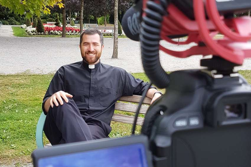"Fr. Nick films a new video for his ""Ask Fr. Nick"" Youtube channel."