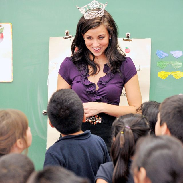 Miss Wisconsin, Laura Kaeppeler, talks to second-grade students at Blessed Sacrament School in Milwaukee Oct. 6, 2011. The 23-year-old Catholic was crowned Miss America 2012 at Planet Hollywood in Las Vegas Jan. 14.