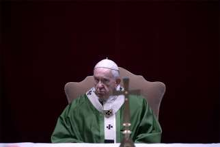 Pope Francis celebrates a Mass attended by the heads of bishops' conferences from around the world on the last day of the four-day meeting on the protection of minors in the church at the Vatican Feb. 24, 2019.