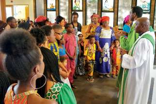 An African Mass is held the last Sunday of every month at St. Dominic Savio Parish. Up to 200 people come from parishes across Edmonton and from as far as Fort Saskatchewan for the Mass.