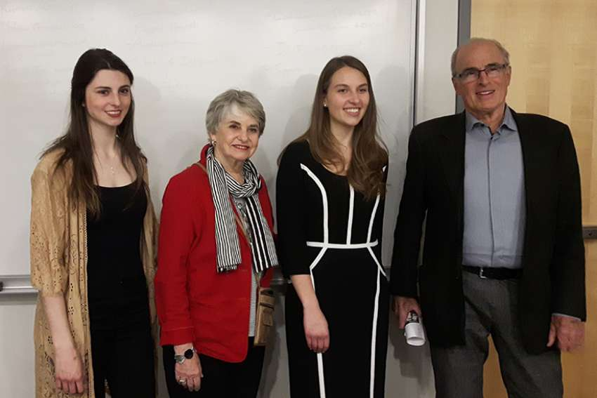 From left, Lindsay Shepherd was Master of Ceremonies for the debate's moderator Barbara Kay, Oriyana Hrycyshyn and Dr. Fraser Fellows.