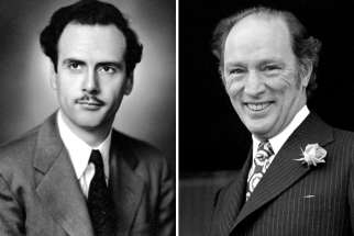 Marshall McLuhan, left, and Pierre Trudeau.