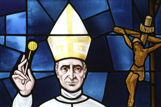 Pope Paul VI is depicted in a stained-glass window at St. Anthony of Padua Church in East Northport, N.Y. The pope will be beatified Oct. 19, the final day of the extraordinary Synod of Bishops on the family.