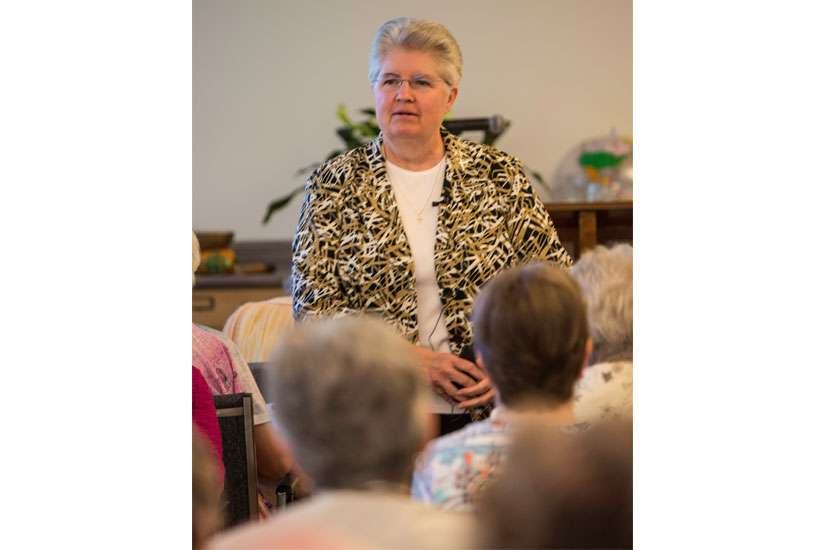 Sr. Carol Zinn, a Philadelphia-based Sister of St. Joseph, speaks to Canadian sisters and religious order priests and brothers in Toronto June 3. Zinn was one of the group of women religious who met with Pope Francis for 50 minutes May 15 to discuss the future of religious life and U.S. women religious.