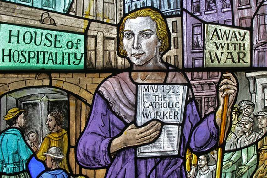 Dorothy Day, co-founder of the Catholic Worker movement and its newspaper, 'The Catholic Worker,' is depicted in a stained-glass window at Our Lady of Lourdes Church in the Staten Island borough of New York.