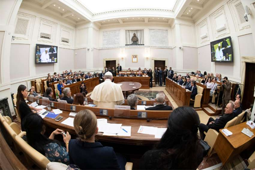 "Pope Francis addresses participants of a Vatican climate change conference for finance ministers from around the world May 27, 2019. The conference, ""Climate Change and New Evidence from Science, Engineering and Policy,"" was sponsored by the Pontifical Academy of Science. Among the issues discussed during the event was the fulfillment of the U.N. Sustainable Development Goals."