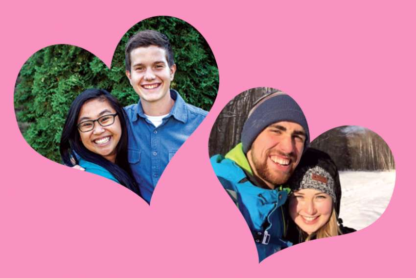 Newly-engaged couple, Angela Tabucan and Lincoln Tesluk, left, and newly-dating couple, Ben Mombourquette and Abigail Huntley agree that prayer is an important tool in inviting God into their relationship.