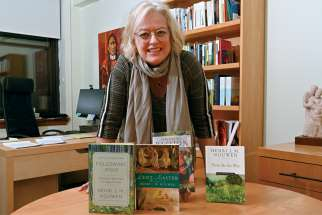 Gabrielle Earnshaw of the Henri Nouwen Society with a selection of his books.