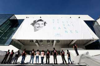 Swedish-born actress Ingrid Bergman is seen on the official poster of the 68th annual Cannes Film Festival in Cannes, France, May 11. Bergman portrayed nuns and saints among her many rules in film.